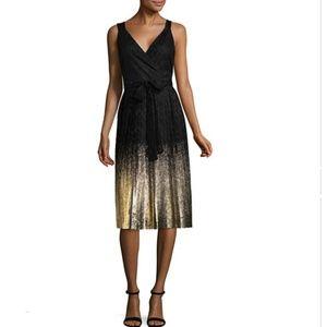 NWT Pleated Worthington Black and Gold Midi Dress